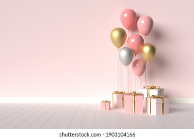 Interior scene with pink gifts and balloons. Valentine's Day or wedding day romantic background for party, events, presentation or promotion banner, posters. 3d render