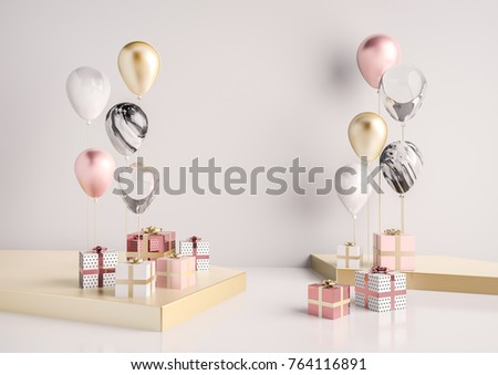 Interior scene with pink and gold gift boxes and balloons. Realistic glossy 3d objects for birthday party or promo posters or banners.