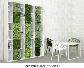 Interior scene with table and Bookshelf, 3D illustration