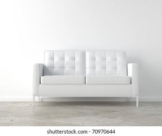 interior scene of white couch on white room with copy space