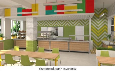 Interior of the school children's canteen. 3D visualization of dining room for schoolchildren.