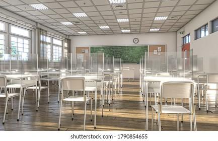 Inneneinrichtung einer Schule mit Schreibtischen mit Schutzschirmen für Plexiglasbläser, um soziale Distanzierung zu ermöglichen, um eine covid-19-Infektion zu verhindern. 3D-Rendering.