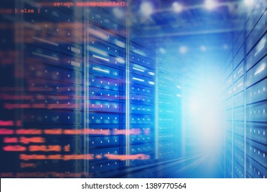 Interior of server room with blurred lines of code. Concept of hi tech, big data and cloud computing in business. 3d rendering toned image double exposure