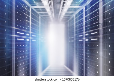 Interior of server room with gray glowing light. Concept of hi tech, big data and cloud computing in business. 3d rendering toned image double exposure