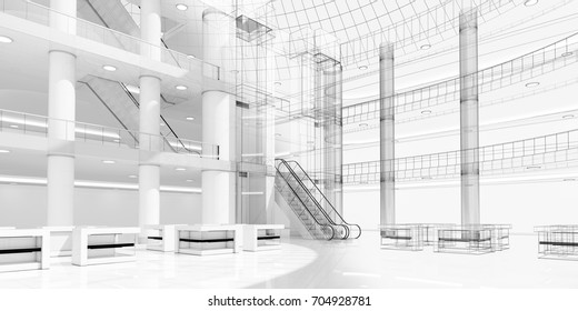 The interior of the shopping center with elevators and escalators. Sketch 3d image