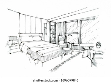 interior sketch - bed room