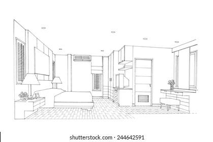 Interior sketch of bedroom