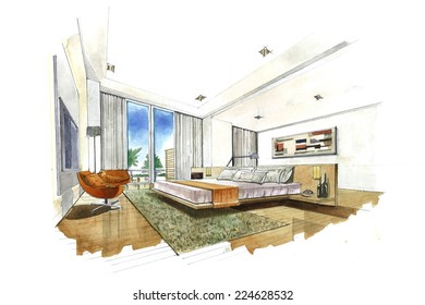 Interior sketch design of bedroom. Watercolor sketching idea on white paper background.