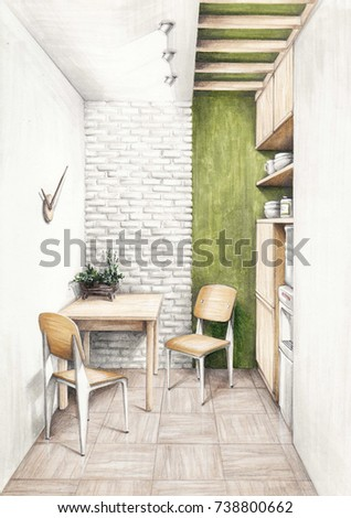Interior Sketch Dining Area Minimalism Style Stock Illustration