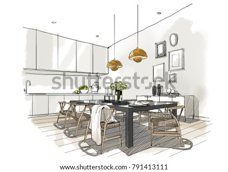Interior Sketch Dining Room Illustration Painting Stock Illustration