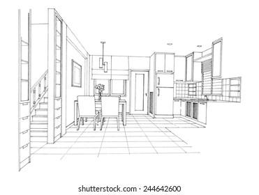 Interior sketch of dinning room