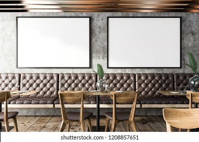 Interior of small grunge restaurant with concrete walls, wooden floor, and leather sofas and chairs next to wooden tables. Horizontal mock up poster gallery. 3d rendering