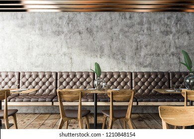 Interior of small grunge restaurant with concrete walls, wooden floor, and leather sofas and chairs next to wooden tables. 3d rendering copy space