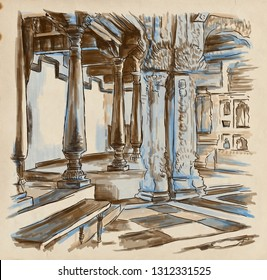 Interior of some old building. Cathedral. An hand drawn illustration. Digital drawing.