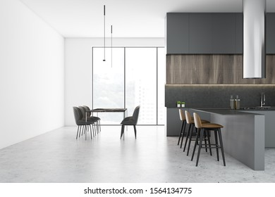 Interior of spacious kitchen with white walls, concrete floor, panoramic windows, gray bar with stools and long dining table. 3d rendering