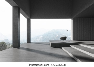 Interior of spacious panoramic living room with stone walls and columns, staircase and comfortable armchair. Scenic blurry mountain view. 3d rendering