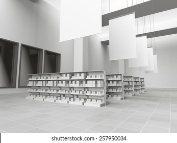 interior of a store with lots of products. 3D rendering