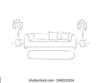 Interior style. Illustration sofa. Vintage background. Comfortable indoor concept, black