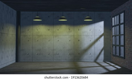 interior style industrial design for background  architecture content 3d rendering