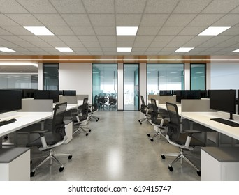 the interior style office concept small area (3D Rendering)