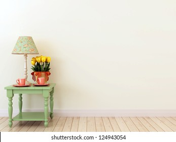 The interior in the style of Provence which creates spring mood and consisting of green tables with two coffee cups, tulips and elegant table lamp