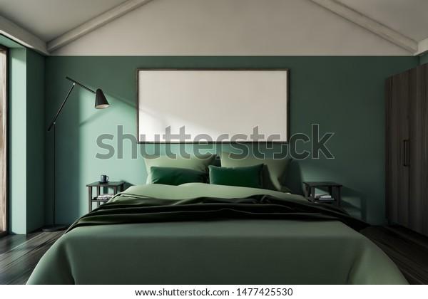 Interior Stylish Attic Bedroom Green Walls Stock Illustration 1477425530
