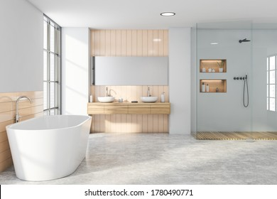 Interior of stylish bathroom with beige tiled and gray walls, concrete floor, comfortable bathtub, double sink with horizontal mirror and shower stall. 3d rendering