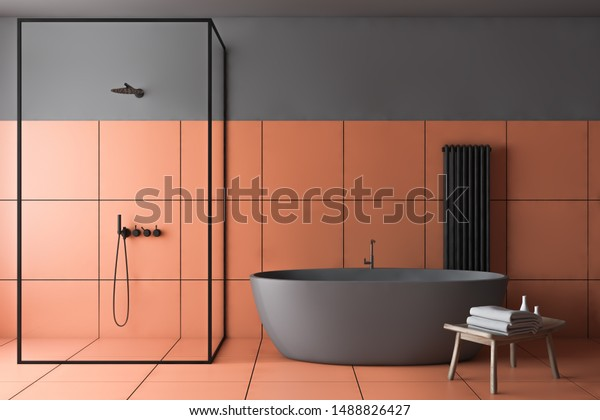 Interior Stylish Bathroom Gray Orange Tile Stock Illustration