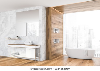 Interior of stylish bathroom with panoramic window, white tile and wooden walls, white bathtub and sink with large mirror above it. 3d rendering