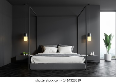 Interior of stylish bedroom with gray and wooden walls, dark wooden floor, window with plant near it and gray master bed with bedside tables. 3d rendering