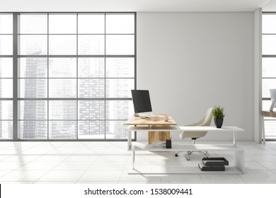 Interior of stylish CEO office with white and glass walls, tiled floor, comfortable desk with computer on it and window with cityscape. Concept of management. 3d rendering