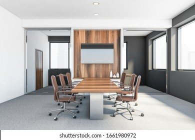 Interior of stylish conference room with white and grey walls, carpeted floor, long wooden table with leather chairs and TV on wooden wall. Concept of discussion. 3d rendering
