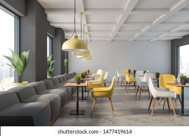 Interior of stylish family restaurant with gray and white walls, stone floor, gray sofas and yellow and white chairs near square wooden tables. 3d rendering