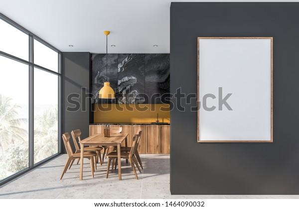 Interior Stylish Kitchen Gray Yellow Walls   Food and Drink ...