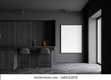 Interior of stylish kitchen with grey and wooden walls, dark wooden floor, comfortable wooden countertops with built in sink and cooker and bar with stools. Vertical mock up poster. 3d rendering