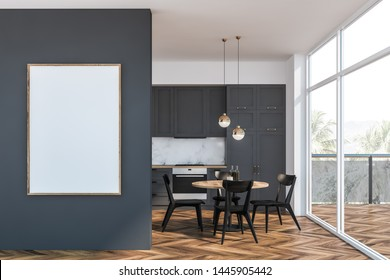 Interior of stylish kitchen with white and marble walls, gray countertops and cupboards, round dining table with black chairs and balcony with loft window. Vertical mock up poster frame. 3d rendering