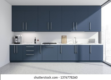Interior of stylish kitchen with white walls, concrete floor, panoramic windows and dark blue countertops and cupboards. 3d rendering