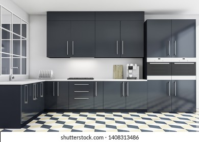 Interior of stylish kitchen with white walls, tiled floor, gray countertops with built in sink and cooker and two ovens. 3d rendering