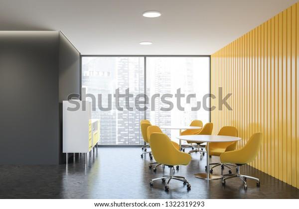 Interior Stylish Living Room Gray Yellow Stock Illustration ...
