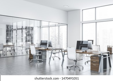 Interior of stylish open space office with white walls, open space area and meeting room in background. 3d rendering