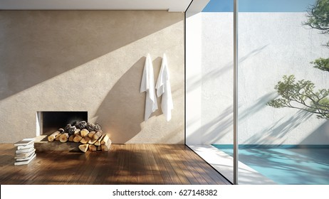 Interior of a sunny beach house - 3 d render using 3 d s Max