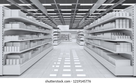 Interior of a supermarket with shelves with blank goods. 3d image.