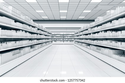 Interior of a supermarket with shelves with goods. 3d illustration