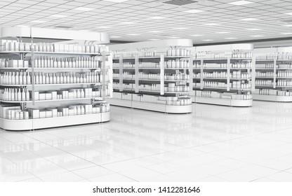 Inneneinrichtung eines Supermarktes mit Regalen für Waren. 3D-Illustration