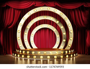 Interior of the theater with red velvet curtains and golden decorative scene. 3d illustration