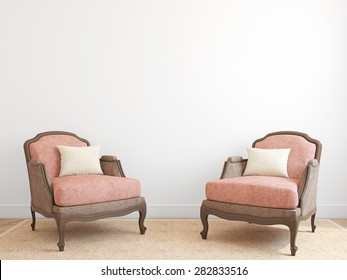 Interior with two armchairs. 3d render.