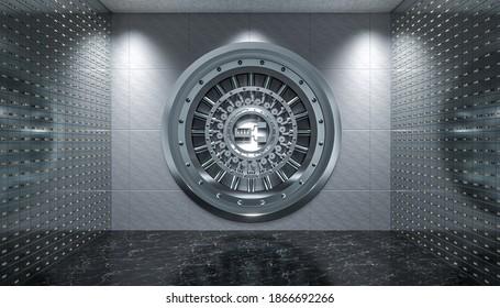 Inneneinrichtung eines Gewölbes mit Stahltür und Sicherheitskisten, schwarzer Marmorboden. 3D-Rendering.