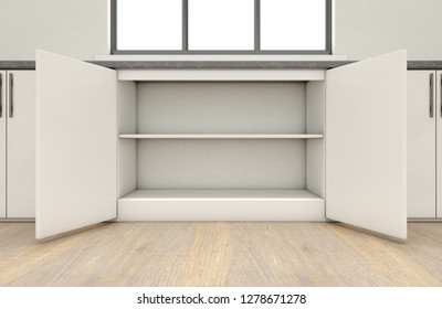 An interior of a very clean empty kitchen with a row of built in cupboards with a set of doors open - 3D render