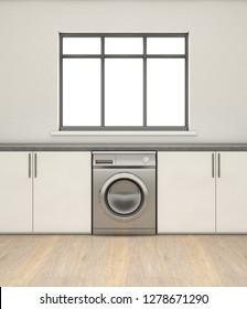An interior of a very clean empty kitchen with a row of built in cupboards and a generic washing machine - 3D render