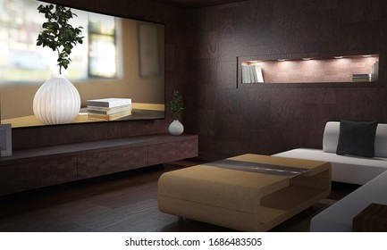 Interior view of empty dimly lit room with counters over hardwood flooring and sofa facing tv. 3d Rendering.